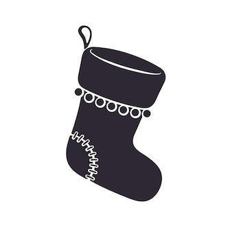 Силуэт рождественский носок для подарков векторные иллюстрации