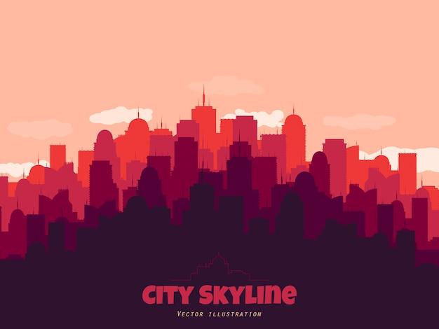 Силуэт города на фоне линии горизонта. пейзажный фон.