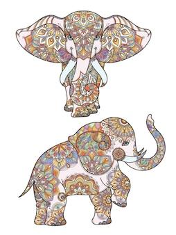 その上にアフリカゾウと曼荼羅の装飾を着色するシルエット。抽象的なイラストアフリカゾウのパターンの装飾