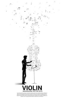 음악 멜로디 노트 춤 흐름 모양 바이올린 아이콘 지휘자 손의 실루엣.