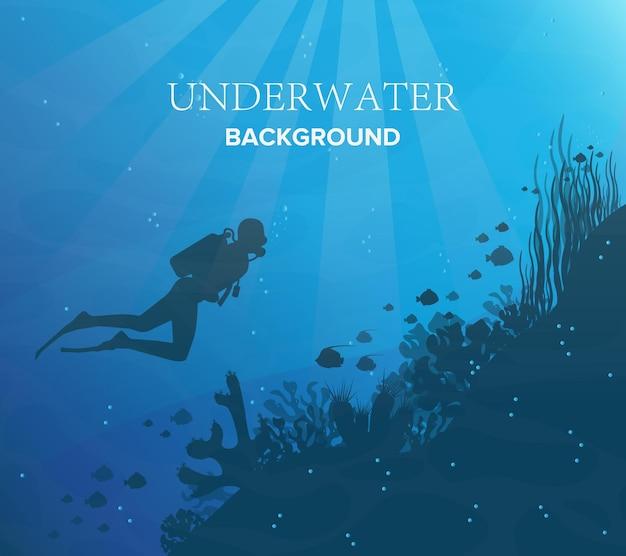 青い海を背景に魚とスキューバダイバーとサンゴ礁のシルエット。水中の海洋野生生物。自然イラスト。