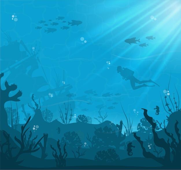 Силуэт кораллового рифа с рыбой и аквалангом на фоне синего моря Premium векторы