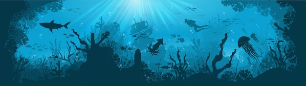青い海の背景に魚とスキューバダイバーとサンゴ礁のシルエット