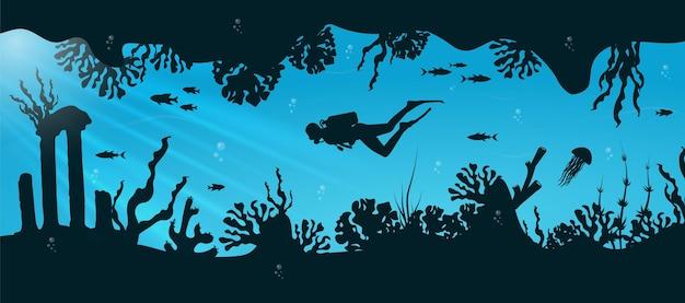青い水中背景に魚とスキューバダイバーとサンゴ礁のシルエット