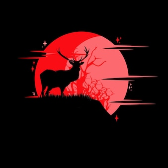 Силуэт оленя перед луной