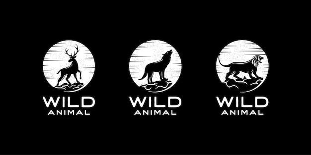 사슴, 늑대, 사자의 실루엣입니다. 야생 동물 로고 디자인 영감 템플릿