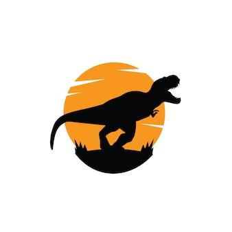 恐竜のロゴのテンプレートのシルエット