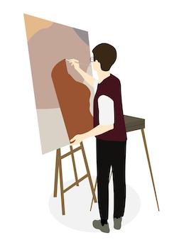 Силуэт художника-рисовальщика на мольберте. векторные иллюстрации. eps10