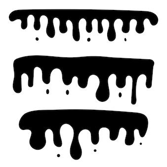 滴る液体、はねかけるインク、油またはソースが流れ落ちるシルエット。ペンキが上から滴り落ちる。ベクトルイラスト。