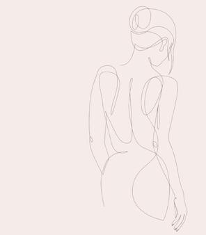 우아한 여자의 실루엣입니다. 여성 그림입니다. 어린 소녀의 개요입니다. 선형 예술.