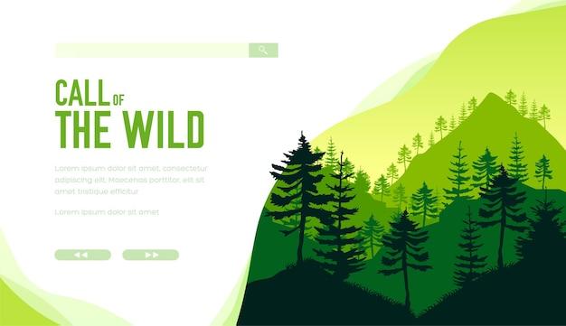 산에 상록 나무의 실루엣입니다. 녹색에 고대 숲의 깊이.
