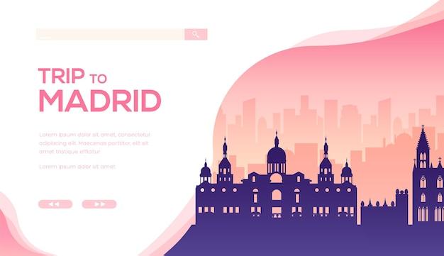 スペインの有名なランドマークや観光スポットのシルエット。マドリードの王宮のバナー。