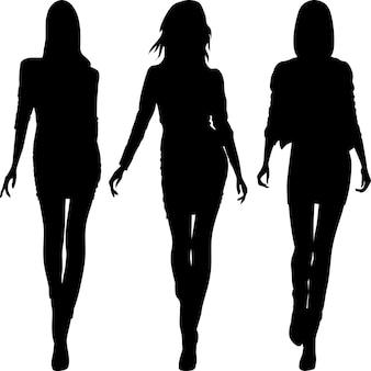 Силуэт модных девушек топ-моделей