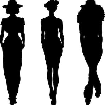 패션 여자 상위 모델의 실루엣