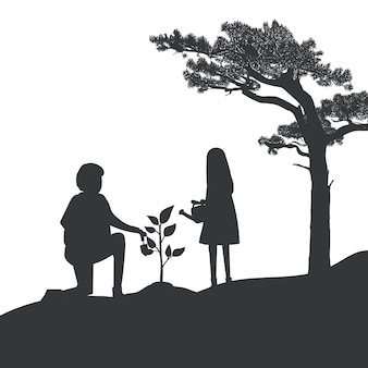 Silhouette of father and daughter gardening vector