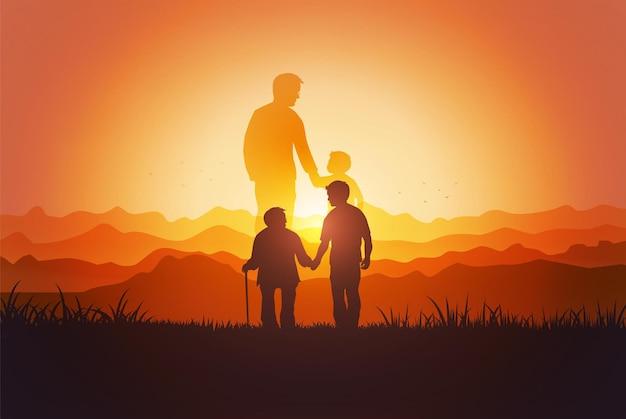 Силуэт отца и сына в парке во время заката