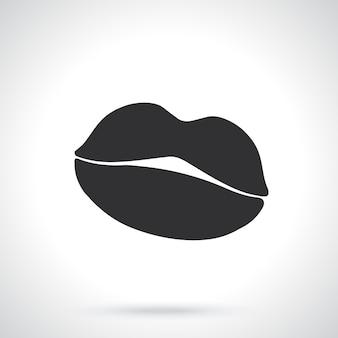 女性の唇のシルエットセクシーなキステンプレートまたはパターンベクトル図