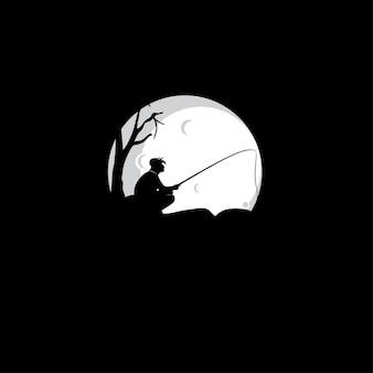 漁師のロゴのシルエット