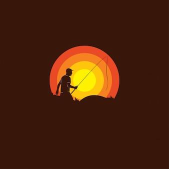 Силуэт логотипа рыбака