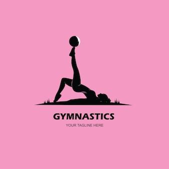 床体操の女性のロゴのシルエット