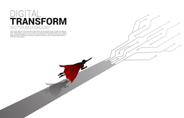 矢印ドット接続回路基板スタイルで飛ぶシルエット。ビジネスのデジタルトランスフォーメーションの概念。