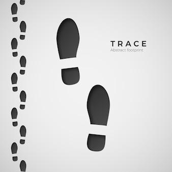 足跡のシルエット。ブーツに踏まれたトレイル。靴跡。白い背景の上の図