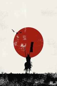 Силуэт японского самурая