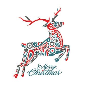 Силуэт прыгающего леса или северного оленя, изолированные на белом фоне и заполненный орнаментом со знаком с рождеством. идеально подходит для поздравительных открыток, баннеров, листовок, открыток.