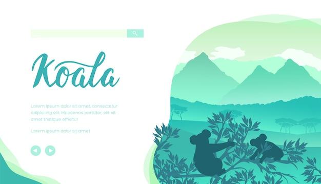 枝に座ってユーカリの葉を食べるコアラのシルエット。緑のオーストラリアの風景。