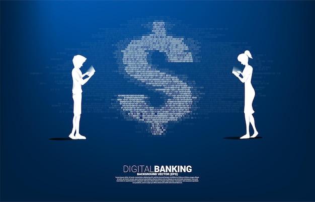 1과 0 이진 코드 자리 매트릭스 스타일로 휴대 전화와 돈 달러 통화를 사용하는 남자와 여자의 실루엣.