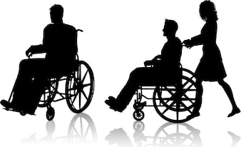 Silhouette of man in wheelchair