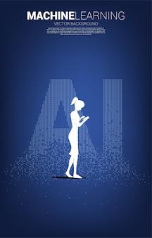 男のシルエットは、ピクセル変換からのai表現で携帯電話を使用します。機械学習と人工知能技術の概念