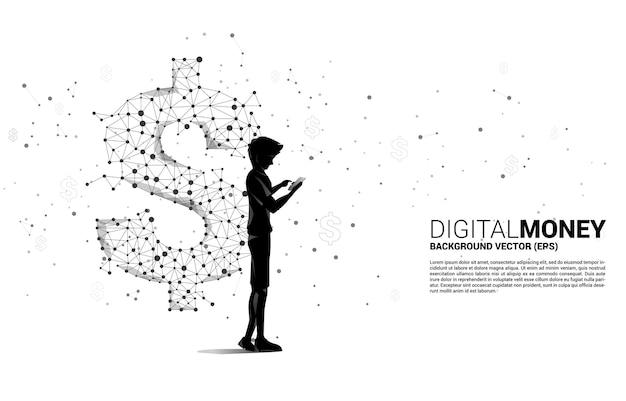 다각형 도트 연결 라인에서 휴대 전화 돈 달러 아이콘을 사용하는 사람의 실루엣. 온라인 뱅킹 및 디지털 머니의 비즈니스 개념.