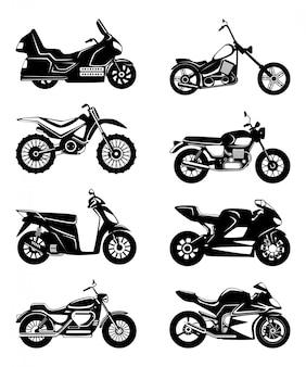 オートバイのシルエット。ベクトルモノクロイラストセット