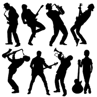 Silhouette of musician people