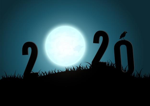 Силуэт чисел 2020 горы с луны.