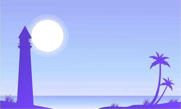 밤에 해변에서 손바닥의 실루엣