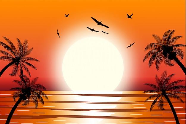 Силуэт пальмы на пляже.