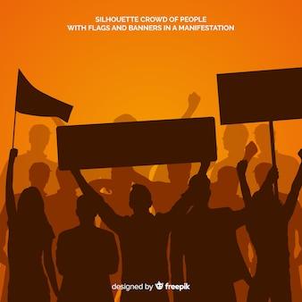 Силуэт людей в демонстрации
