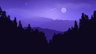 月の空に対する松の風景のシルエット