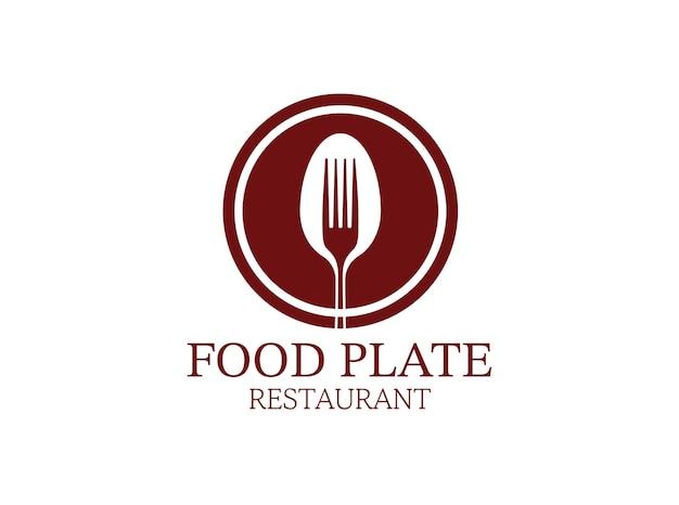 レストランのロゴの円のプレートスプーンとフォークのシルエット