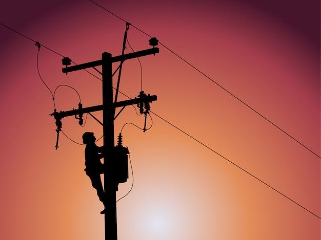 単相変圧器を閉じる送電線のシルエット