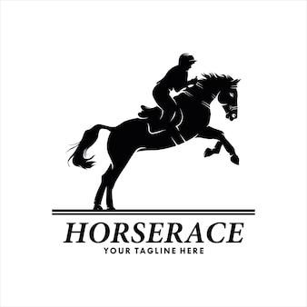 Силуэт скаковой лошади с жокеем