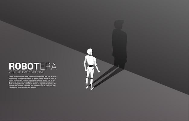 Силуэт робота и его тень человека.