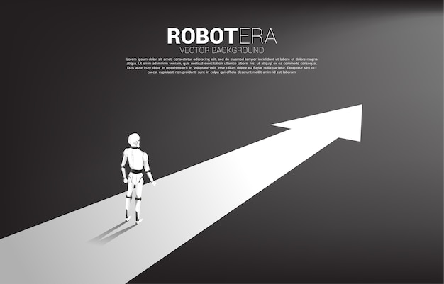 화살표 경로에 서있는 로봇의 실루엣입니다. 인공 지능 및 기계 학습 작업자 기술의 개념