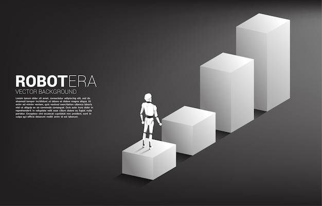 Силуэт робота, стоящего на шаге гистограммы.