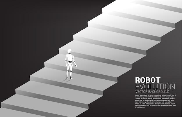 계단 단계에 서있는 로봇의 실루엣입니다. 인공 지능 및 기계 학습 작업자 기술의 개념