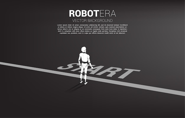 시작 줄에 서있는 로봇의 실루엣입니다. 인공 지능 및 기계 학습 작업자 기술의 개념