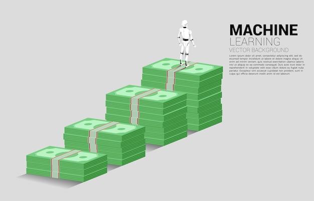 지폐 스택 위에 서있는 로봇의 실루엣. 인공 지능 투자의 개념.