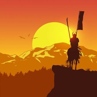 Силуэт самурая верхом на лошади в поле,